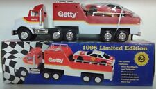 VINTAGE 1995 GETTY TOY RACE CAR CARRIER Lights Horns + Friction Motor NEW IN BOX