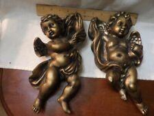 Pair of Gold Painted Cherub Angel Ceramic Wall Hangings Homco 1120 Home Interior