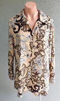 💜 CHARLIE BROWN Long Sleeve Shirt Top Beige Print Size 14 Buy7=FreePost L721