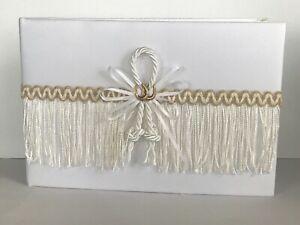 White Western Wedding Guestbook, Fringe, Cowboy Hat, Gold Tone Horseshoe Charms