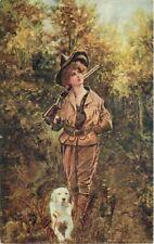 Artist Impression C-1910 Lady Hunter Rifle Dog Western News undivided 2365