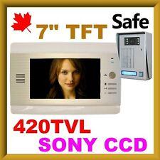 """Video Door Phone Intercom 7"""" TFT LCD 420TVL CCD"""