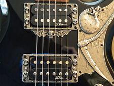 SKULL HUMBUCKER PICKUP SURROUNDS, RINGS fits BC Rich Warlock Guitar HAND MADE!