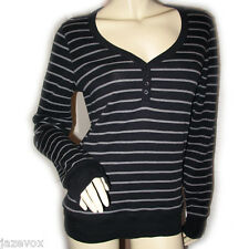 ESPRIT New Womens Long Sleeve V-Neck T-Shirt Tee Tunic Top L Striped Black Grey