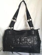 4c80cda913ee Large CELLINI Charcoal Black Leather Tote Shoulder Bag   Handbag