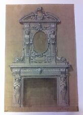 Italian old drawing/disegno Fine '800 acquarellato. Studio di un camino.Firmato