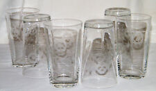 Vintage Set (6) Clear ETCHED CRYSTAL ~IT/WATER GLASSES/TUMBLERS~ Flowers/Leaves