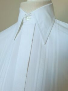 Vintage 1970s Single Cuff Shirt in White Cotton *14.5/S* TJ94