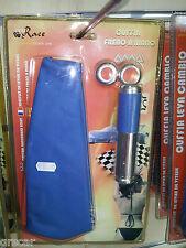 Cuffia Copri Leva Freno a Mano + Impugnatura Tuning Blu alluminio cromato