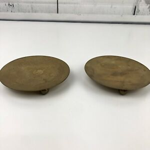 Pair Lot of 2 Vintage Brass Round Trivets Candle Holders Plates Decor