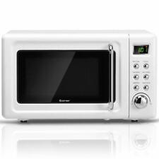 0.7Cu.ft Retro Countertop Microwave Oven 700W Led Display Glass Turntable White