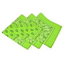 """22"""" PAISLEY Cotton Bandana Wrap Scarf NEON GREEN Rave Neck Kerchief"""