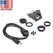 Car Auto Dash Board Flush Mount USB Port 3.5mm AUX Extension Lead Panel Cable 1m