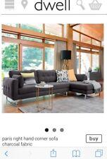 Dwell paris Right Hand Corner Sofa Charcoal Fabric