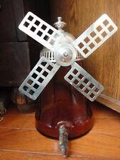 Windmill Beverage Liquid Dispenser Amber Tornado Optic Panel Glass Nickle  Vtg