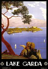 "Vintage Illustrated Travel Poster CANVAS PRINT Lake Garda Italy 24""x16"""