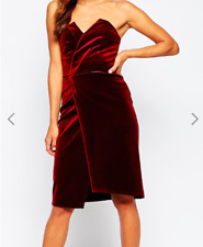 ASOS Velvet Asymmetric Bandeau Midi Dress 8 Classic Cocktail Strapless