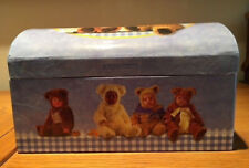 ANNE GEDDES Blue Box for Jewelry, Storage etc. Baby Bears Moveable Compartment