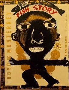 FISH STORY Raw Folk Art Brut Painting Outsider T. Marie Nolan Original Vision