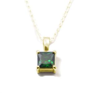 Pendant Diamond Unique 1ct Emerald Princess Cut 9ct Gold with Chain