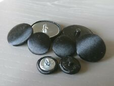 Black Satin Fabric Buttons, 16mm, 20mm, 25mm, 31mm & 37mm Small, Medium & Large