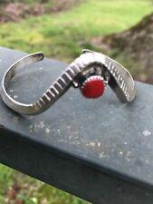 Coral Cuff Bracelet Signed Bea Tom Vtg Native American Navajo Sterling Silver