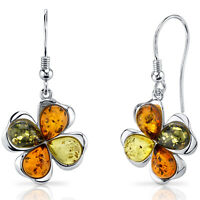 Baltic Amber Clover Earrings Sterling Silver Olive Honey and Cognac Colors