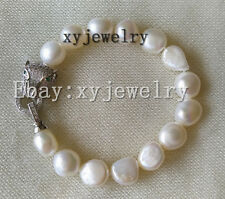 cultured 11-12mm white baroque fresh water pearl Leopard head bracelet 7.5 inch