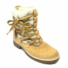 Women's Timberland Teddy Ankle Boots Shoes Size 8 M Brown Laced Fleece Lined R13