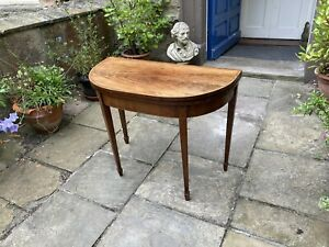 Georgian mahogany fold over card table or side table with satinwood inlay