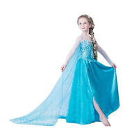 Girls Elsa Princess Dress Halloween Party Fancy Dresses Cosplay Costume