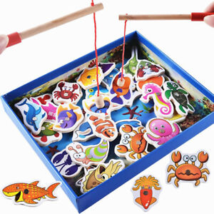32 Pcs Wooden Magnetic Fishing Toys Kids Educational Magnet Puzzle Game Gifts UK