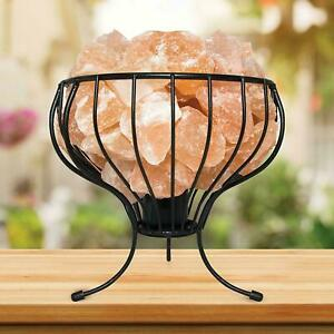 HIMALAYAN SALT LAMP CRYSTAL PINK ROCK SALT LAMP NATURAL HEALING BASKET Um7