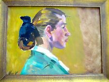 ANTIQUE RUSSIAN IMPRESSIONISM OIL PAINTING GIRL YOUNG WOMAN PORTRAIT FROLOV 1959