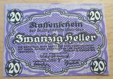 Notgeld Kassenschein 20 Zwanzig Heller WIEN WENEN 1920 - great condition