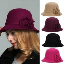Women's Ladies Winter Vintage Elegant Flower Felt Hat Cloche Bucket Cap Caps