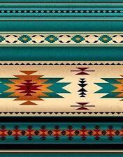 Tucson Southwest Aztec Native American Turquoise Cotton Fabric Fat Quarter