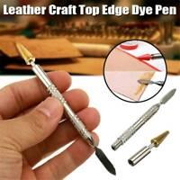 Brass Top Edge Dye Roller Oil Pen Applicator Belt Finisher Leather Craft Tool AU