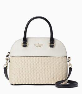 KATE SPADE Grove Street Straw Mini Carli White Leather Bag Satchel WKRU6938 NWT