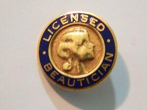 Vintage LICENSED BEAUTICIAN 1/20 14k Gold Filled Enamel Lapel Pin Brooch USA