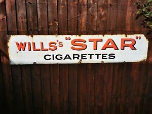ORIGINAL ENAMEL SIGN WILLS STAR CIGARETTES COLLECTION LOUGHBOROUGH