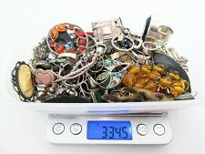 Job Lot 334.5g Solid Silver Jewellery  etc With Stones for Scrap