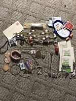 Vintage Junk Drawer Lot Ephemora Beads & Stones Jewelry Dairy Caps Santa Pin++
