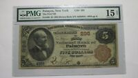 $5 1882 Palmyra New York NY National Currency Bank Note Bill! Ch. #295 PMG FINE!