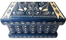 New blue special handcarved wooden wizard jewelry puzzle magic box brain teaser