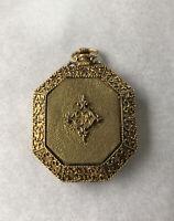 "RARE VTG 1950's Max Factor Gold Pocket Watch Powder Compact Mirror H: 3"" W: 2"""