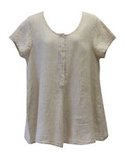 Flax Designs  Cool Tunic   NWT   CREAM  Seersucker Linen  Sizes  S M L 1X 2X 3X