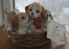 Home Interiors Homco Masterpiece Porcelain Puppies in a Basket Figurine