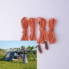 4PCS Orange Fluorescent Guyline Tent Rope Runners Guy Line Camping Cord Cordage