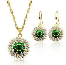 Luxury Gold & Emerald Green Flower Jewellery Set Drop Earrings & Necklace S636